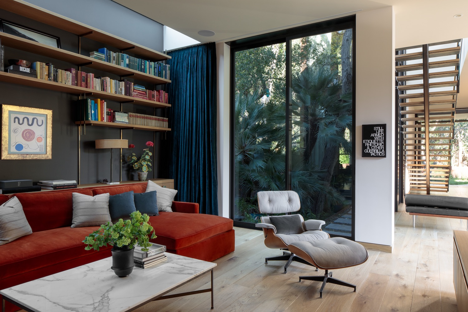 cozy living area with red sofa