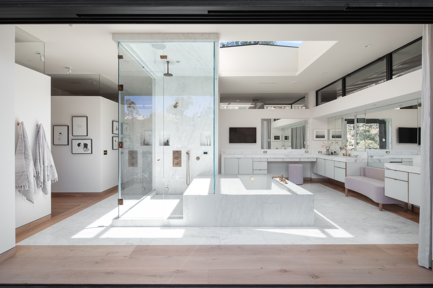bathroom with skylight in the roof