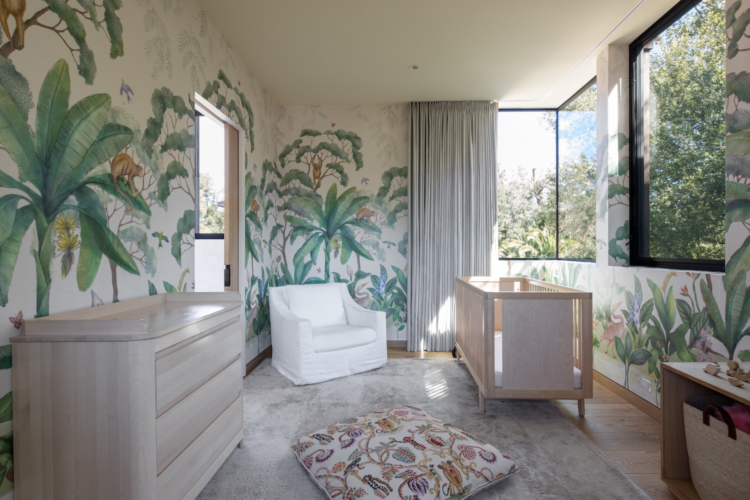 children room with nature wallpaper