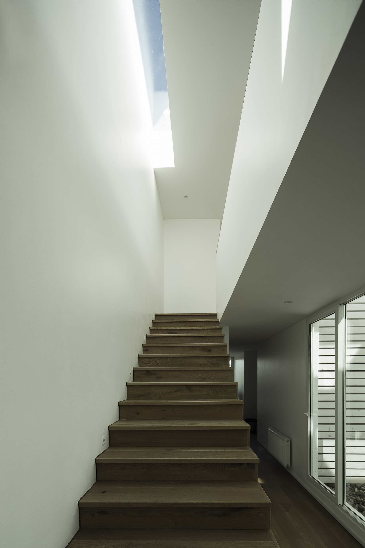 narrow skylight over staircase