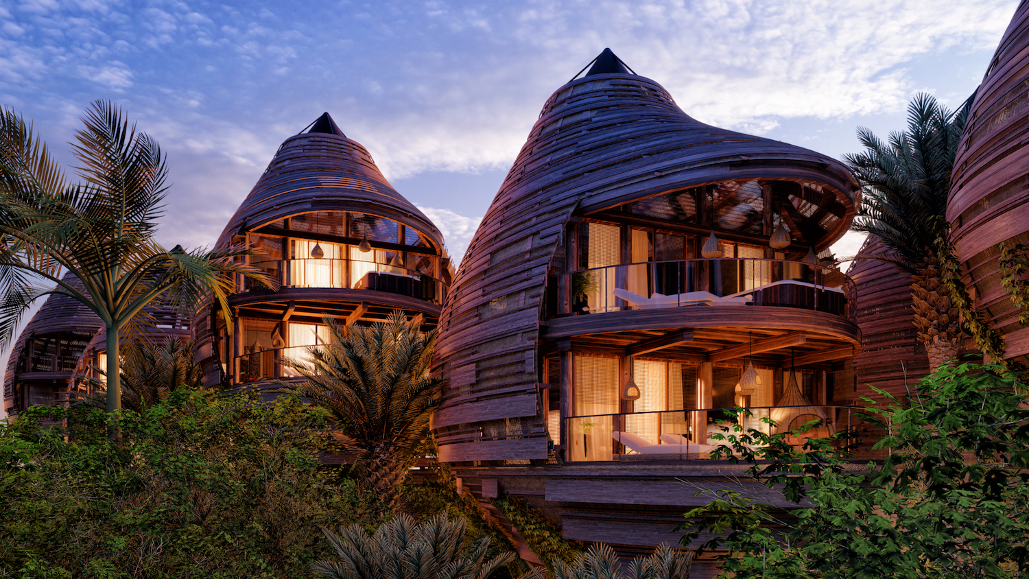 the nest shaped hotel with sea view at night