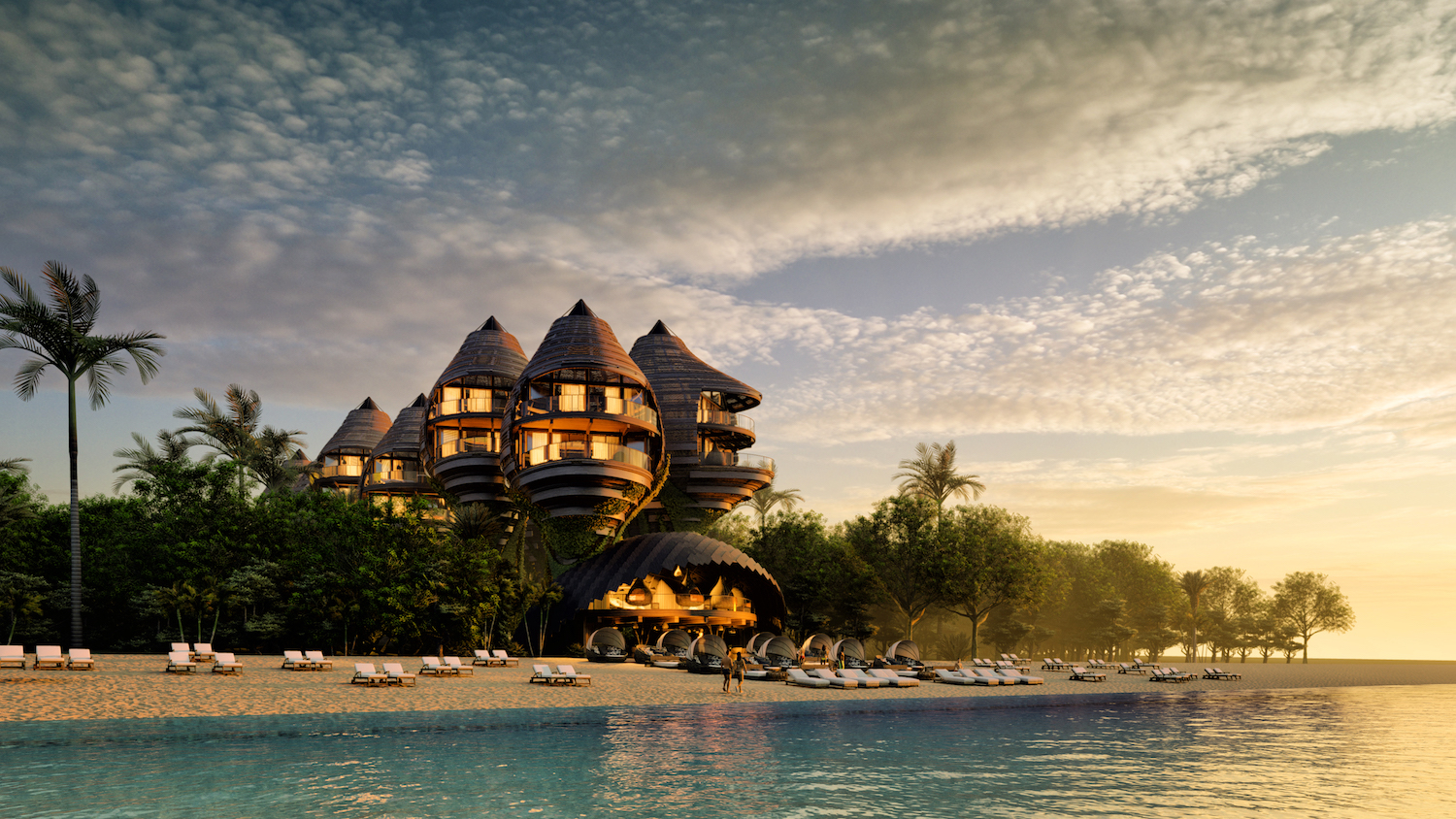seaside hotel with beach in mexico