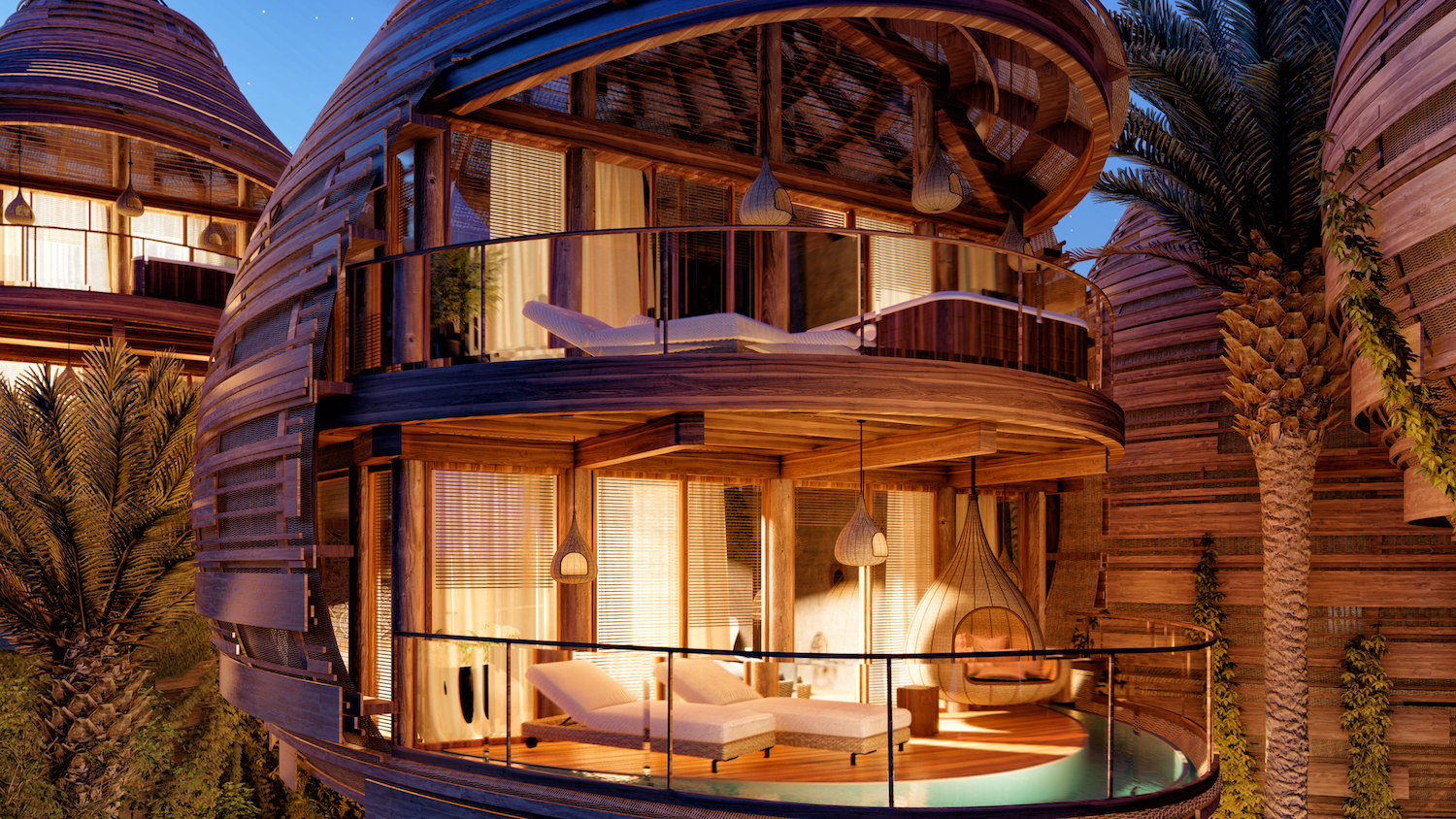 boutique hotel made of bamboo