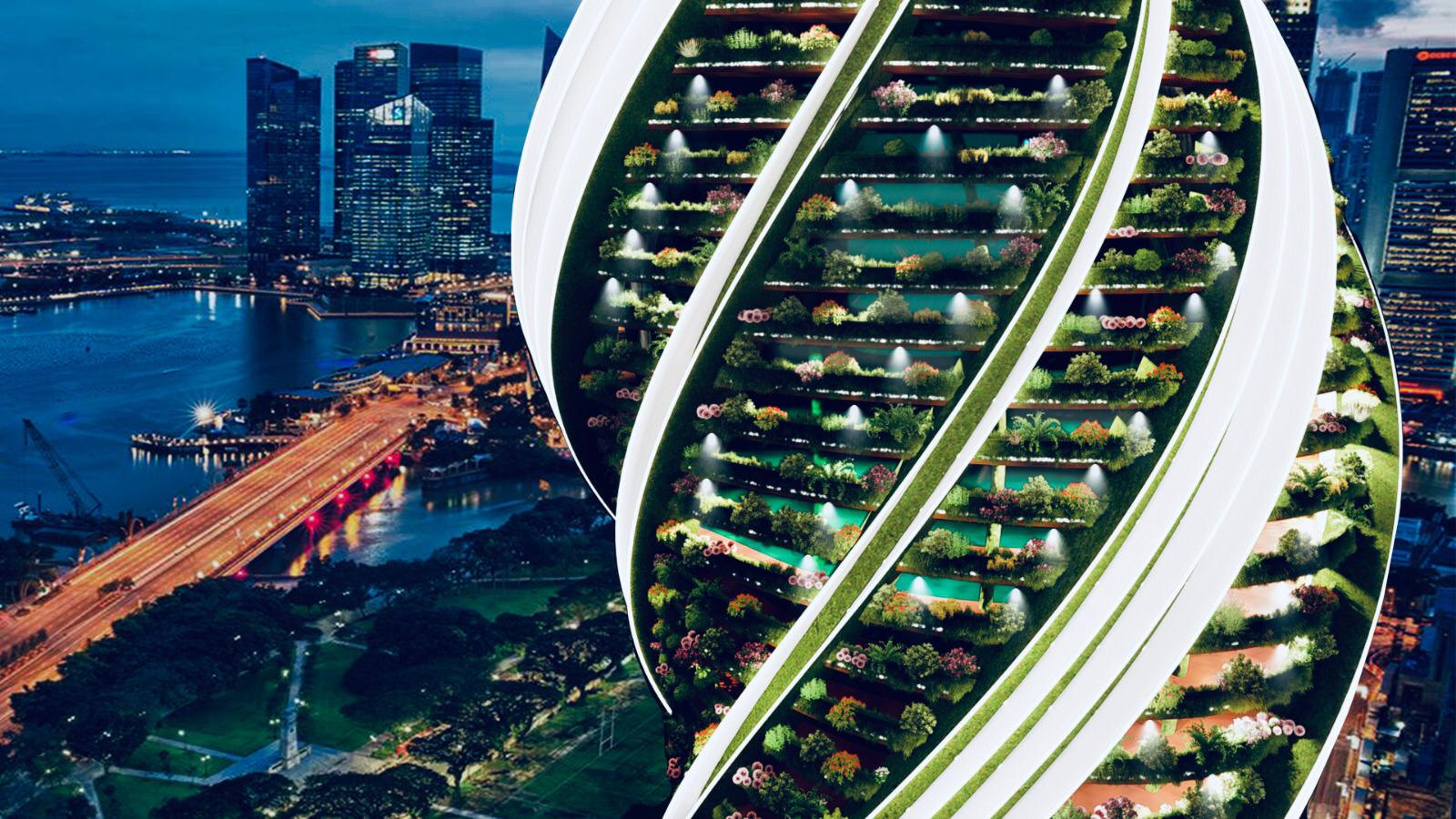 green luxury tower in Singapore at night