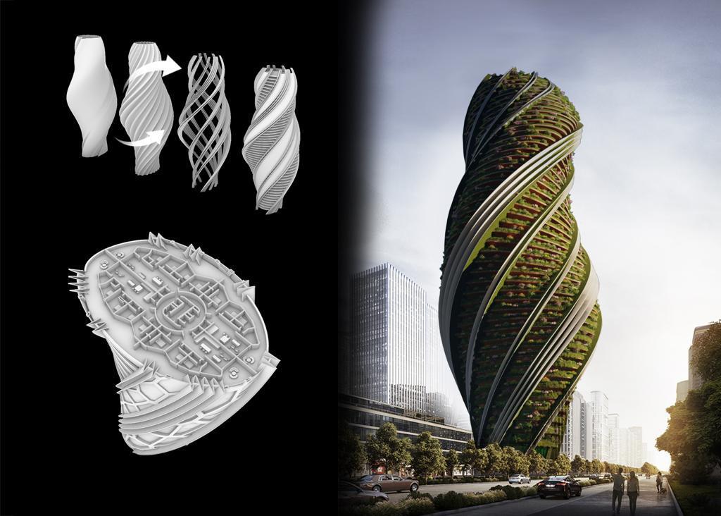 skyscraper with green balconies