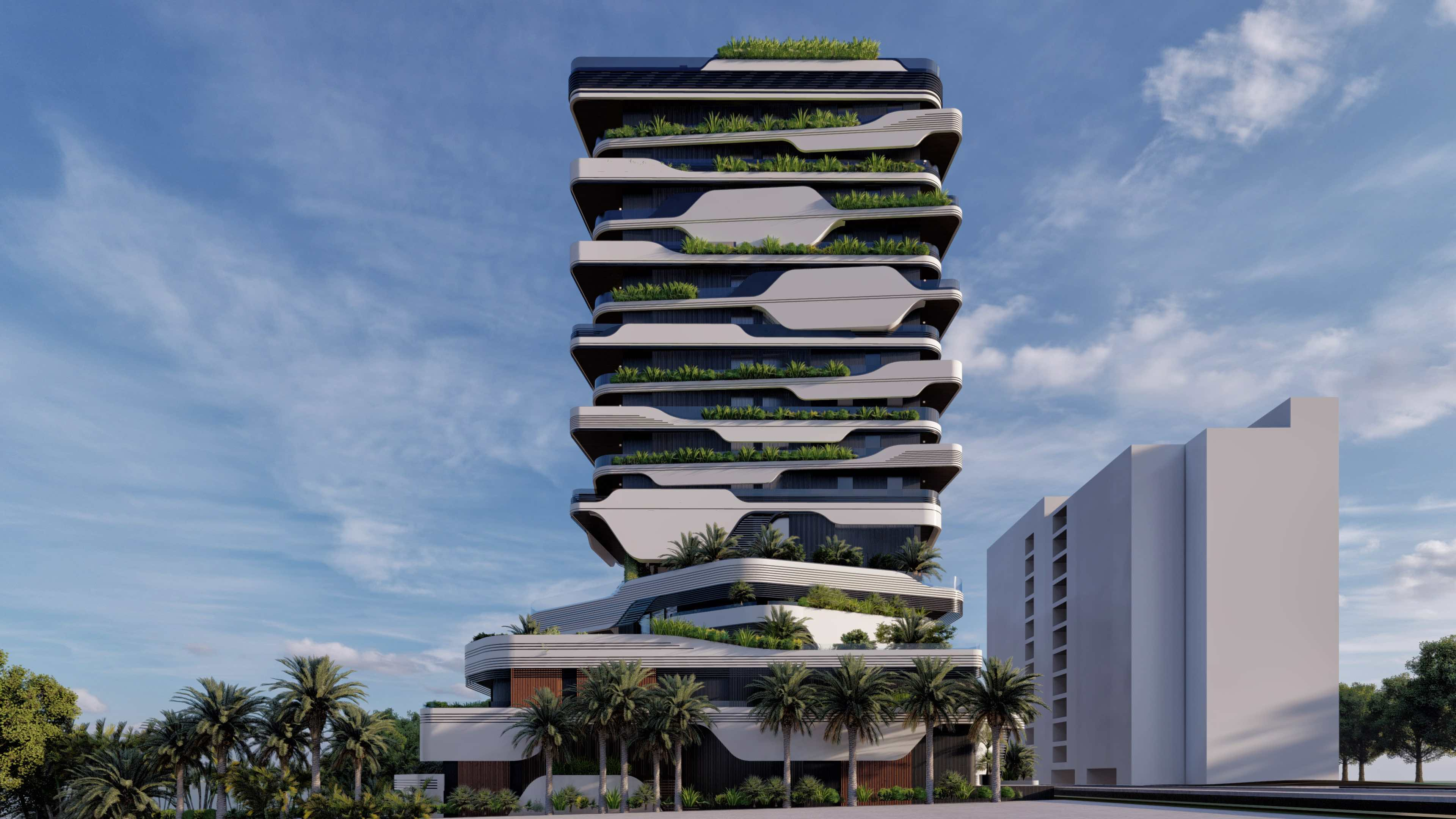 a modern hotel with layered balconies terraces