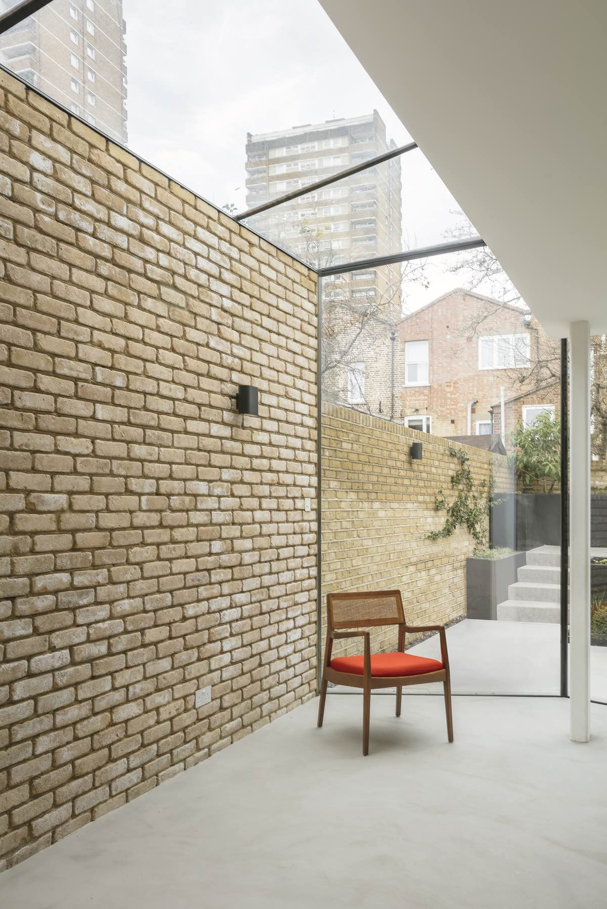 combination of glass and brick structure