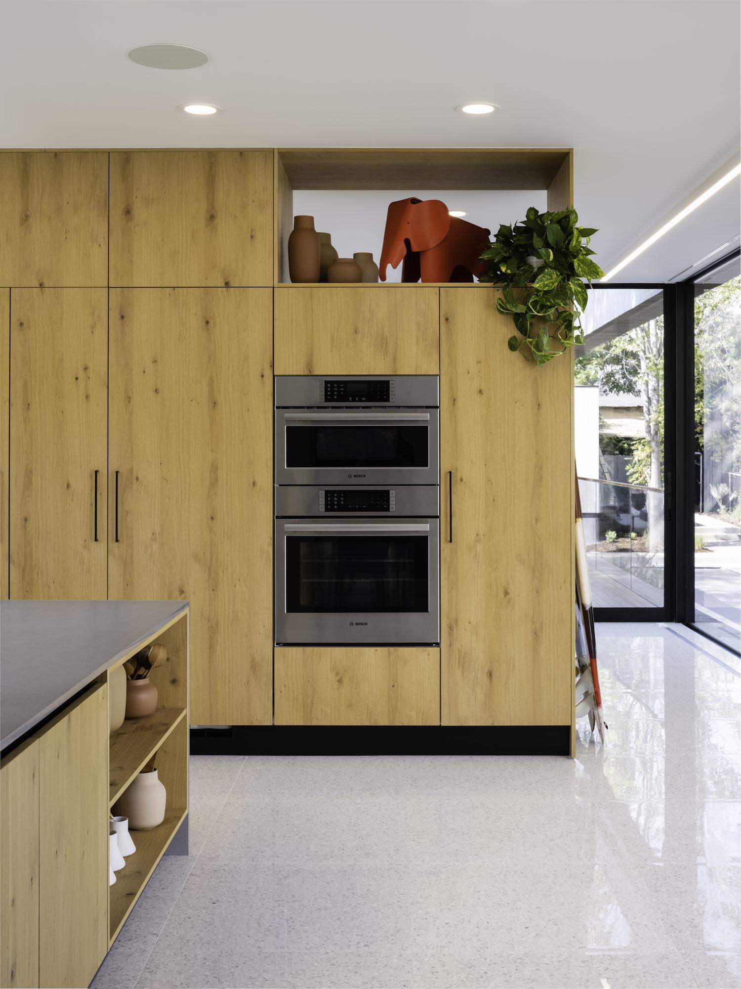 kitchen with microwave and oven