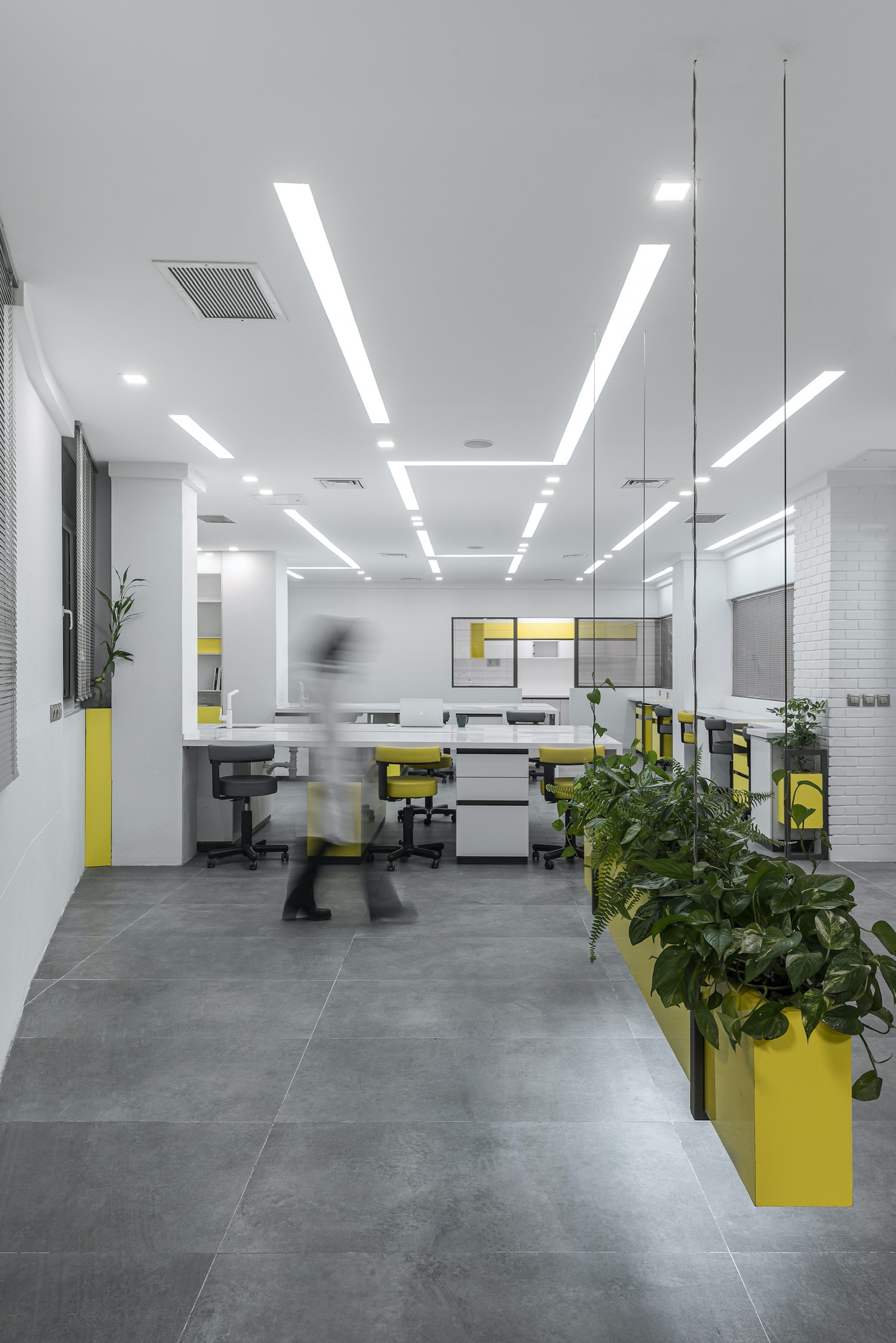 laboratory design with white material