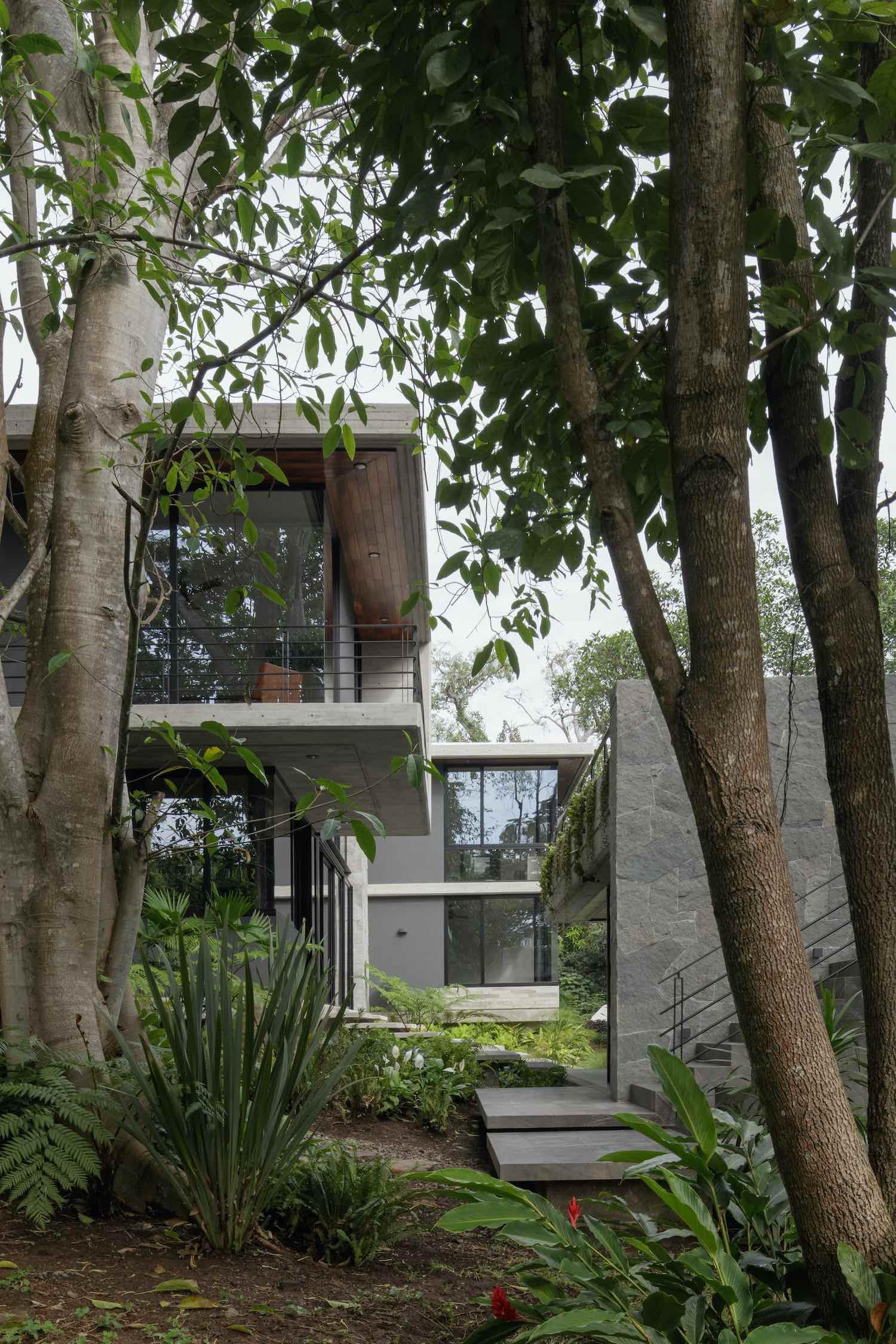 a concrete home located in the jungle