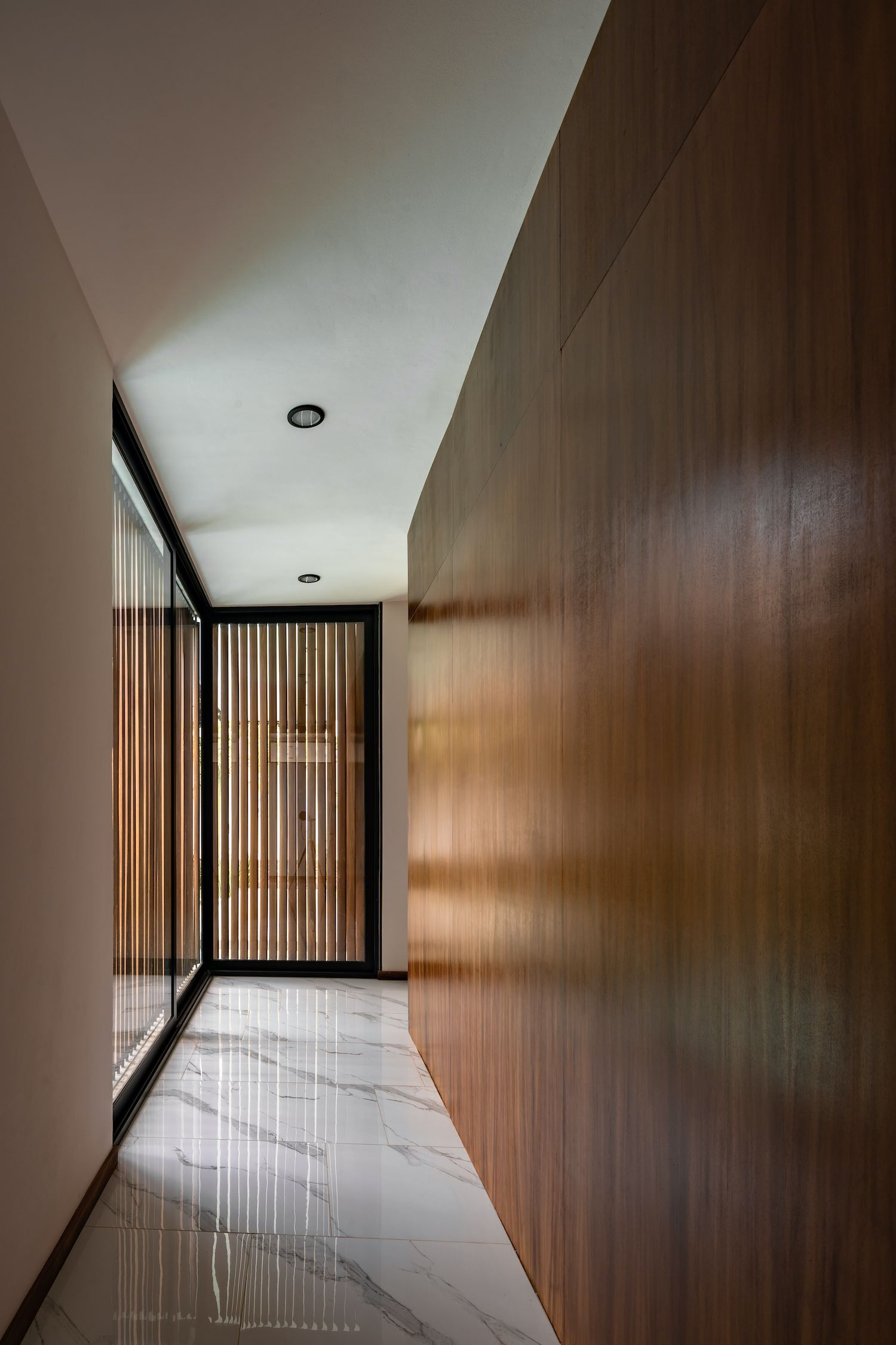 corridor with wooden wall