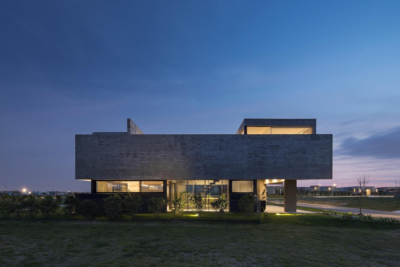 house with illumination at night