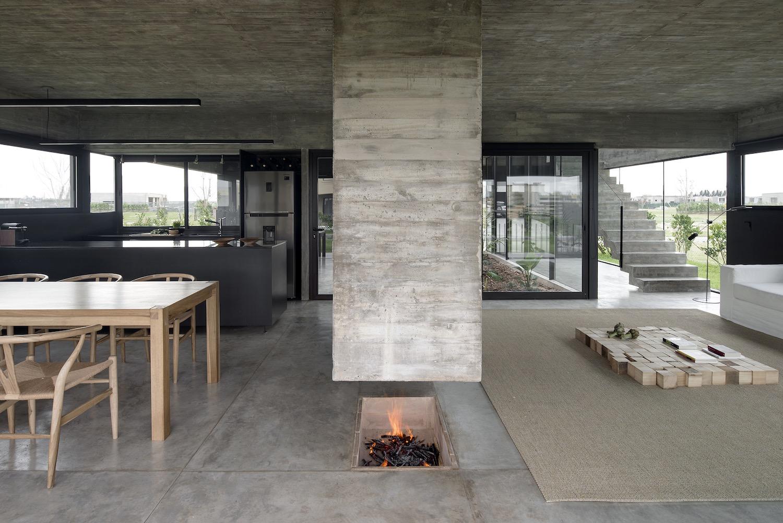 concrete fireplace design