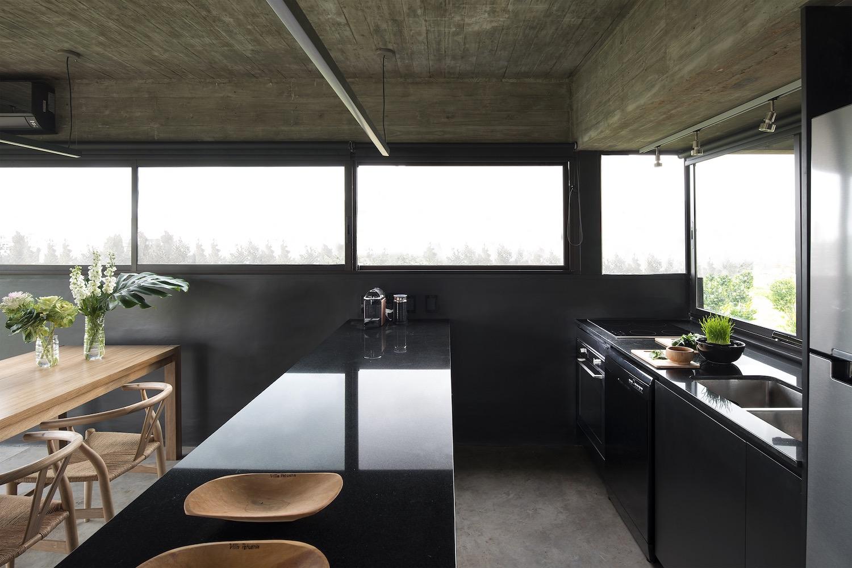 modern shiny black kitchen
