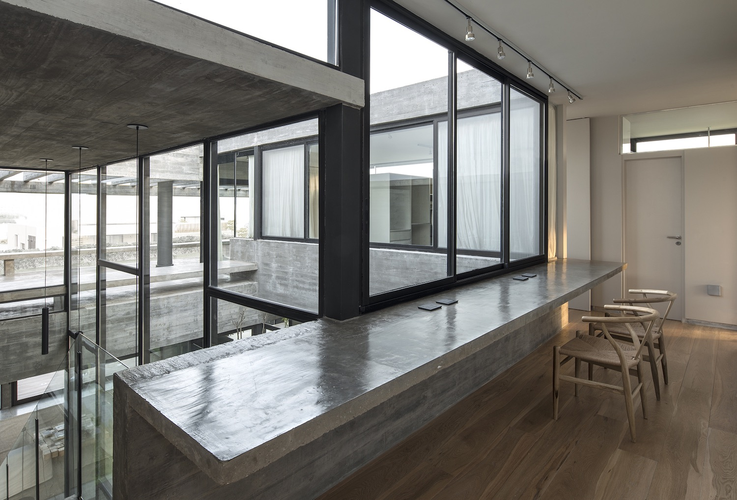 room with large glass windows
