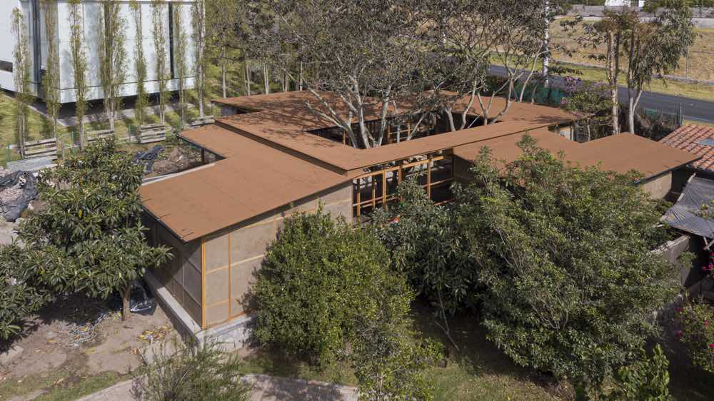 the aerial view of the house from above