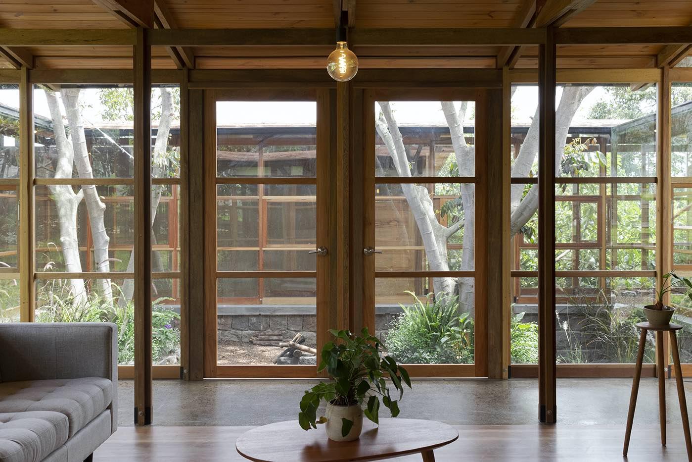 entrance door connecting to the indoor garden