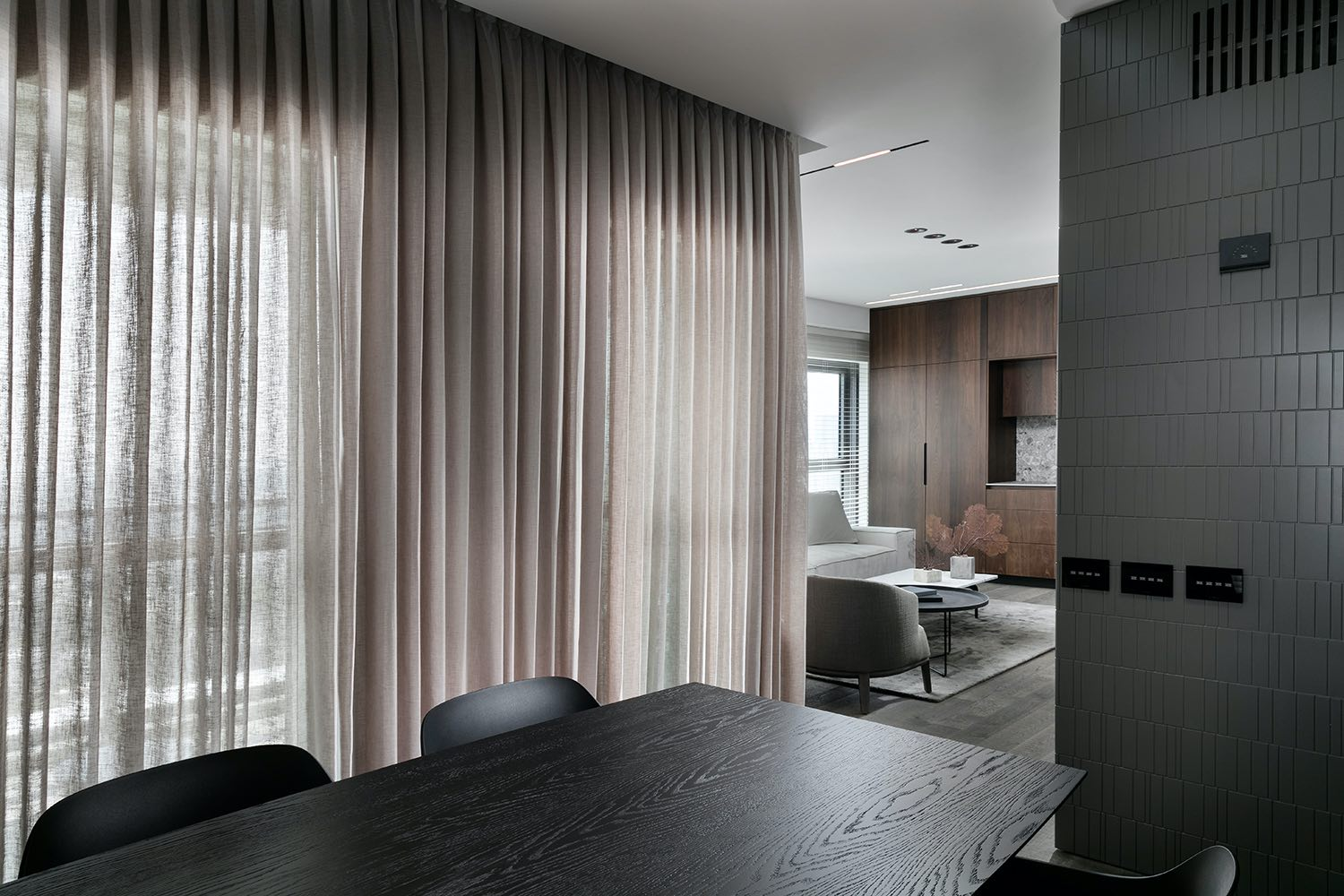 dining table and window curtain