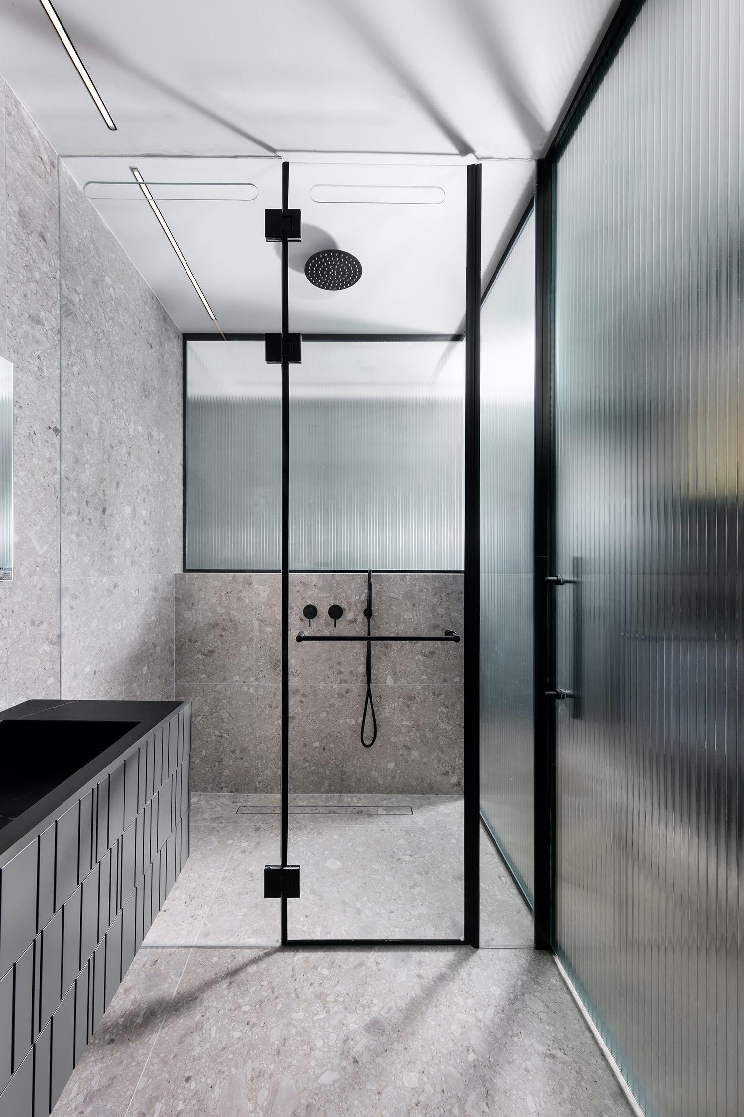 bathroom wall made with tiles