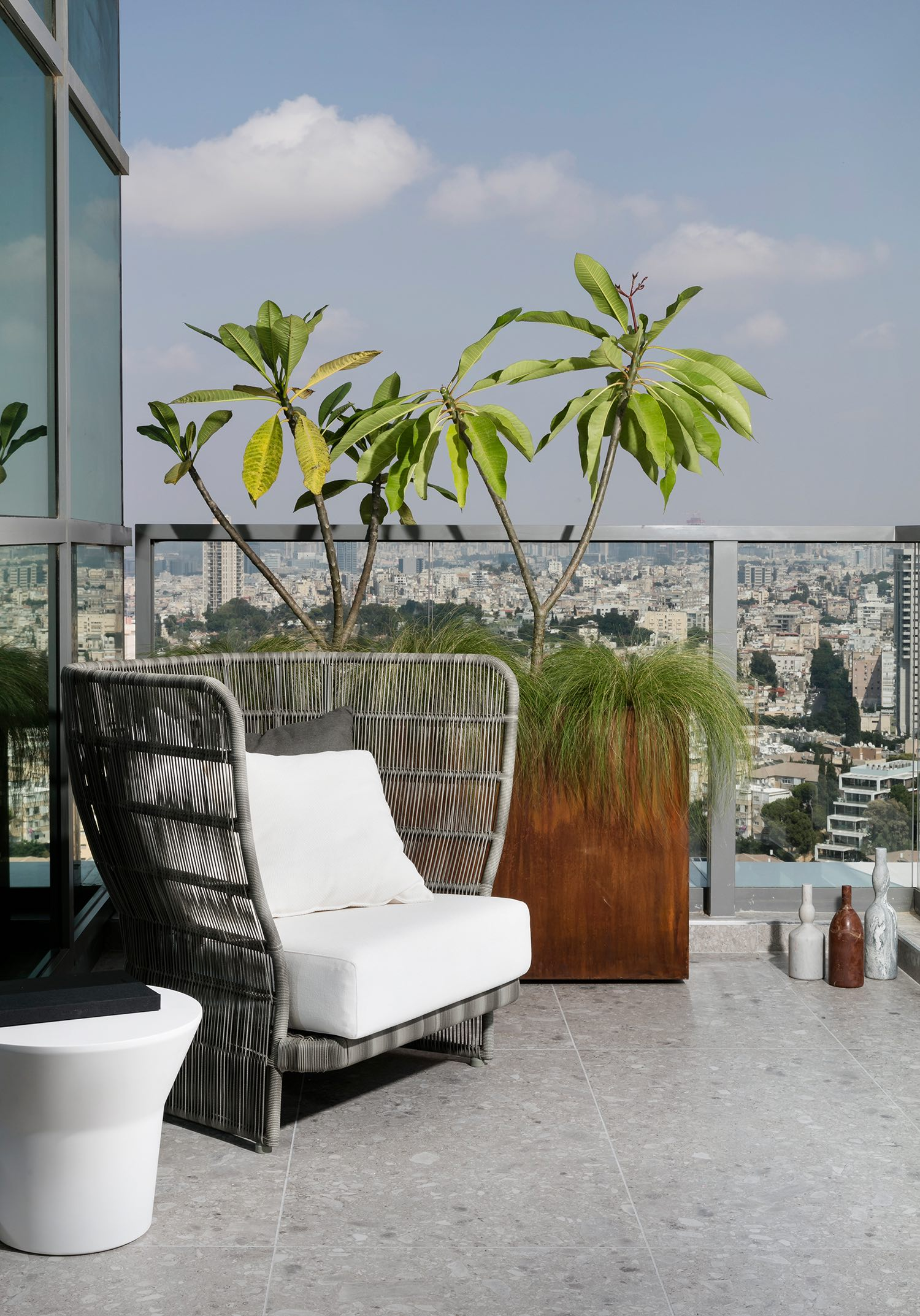 outdoor chair at balcony