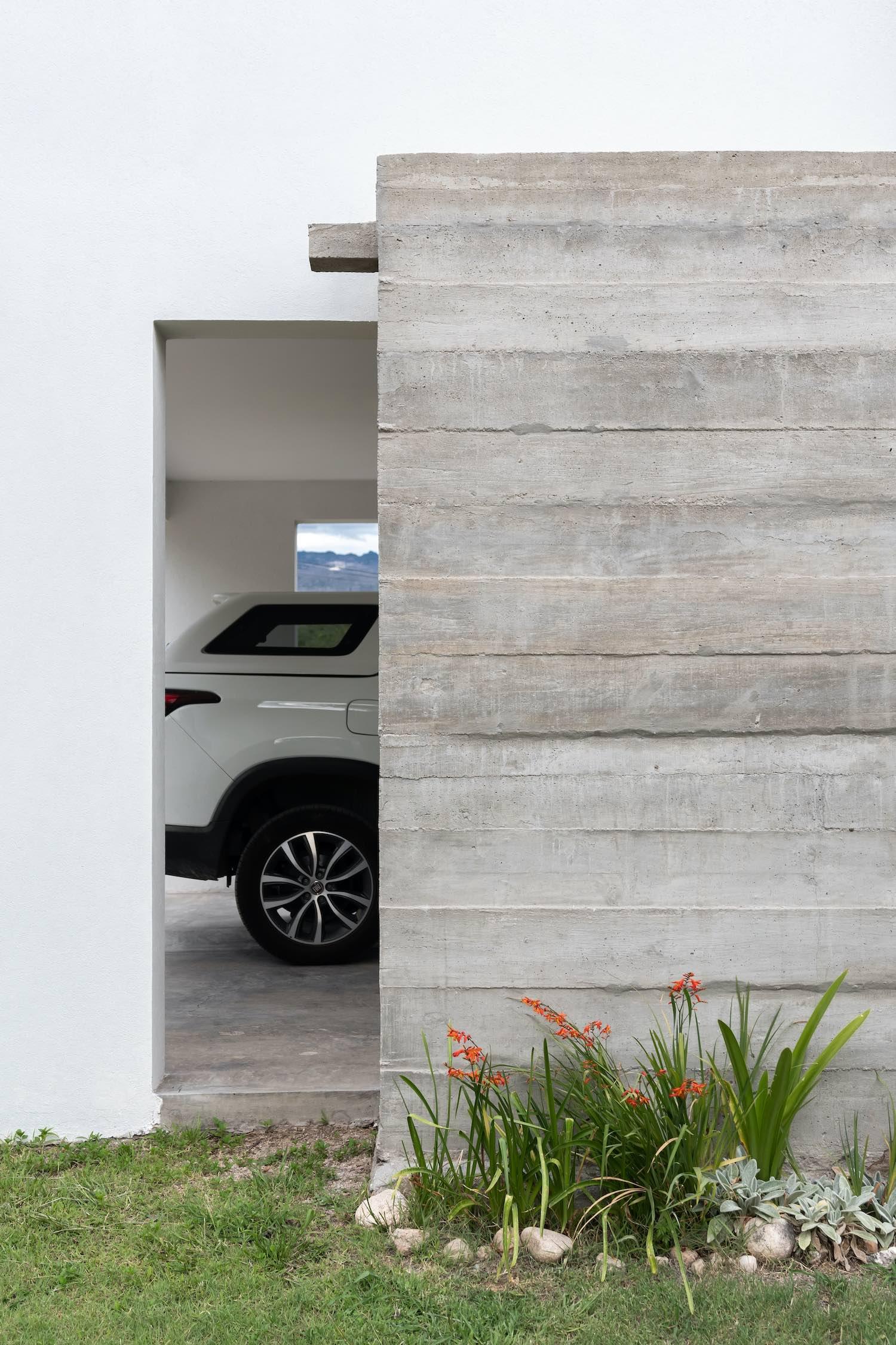 white car parked in garage
