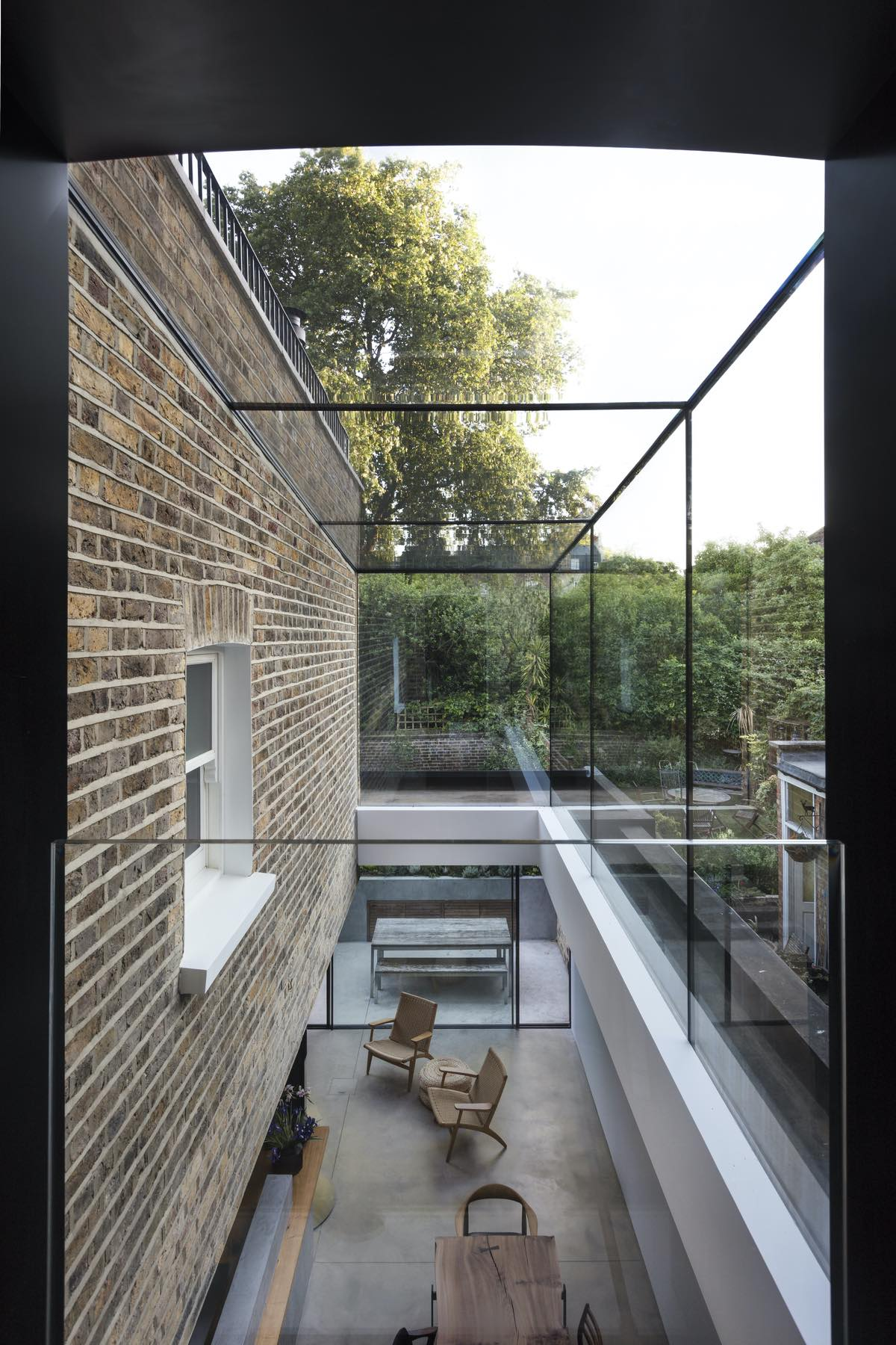 glass and brick are used in this house in London