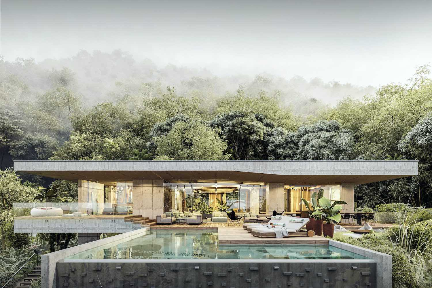 a resort villa in the middle of jungle