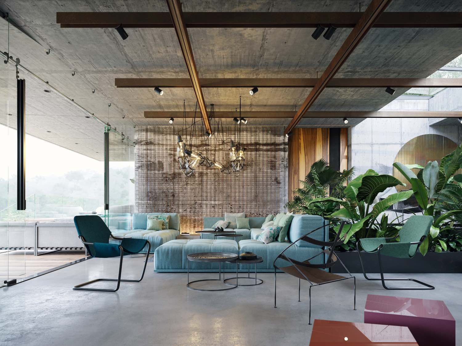 modern luxury furniture used in the interior of this villa