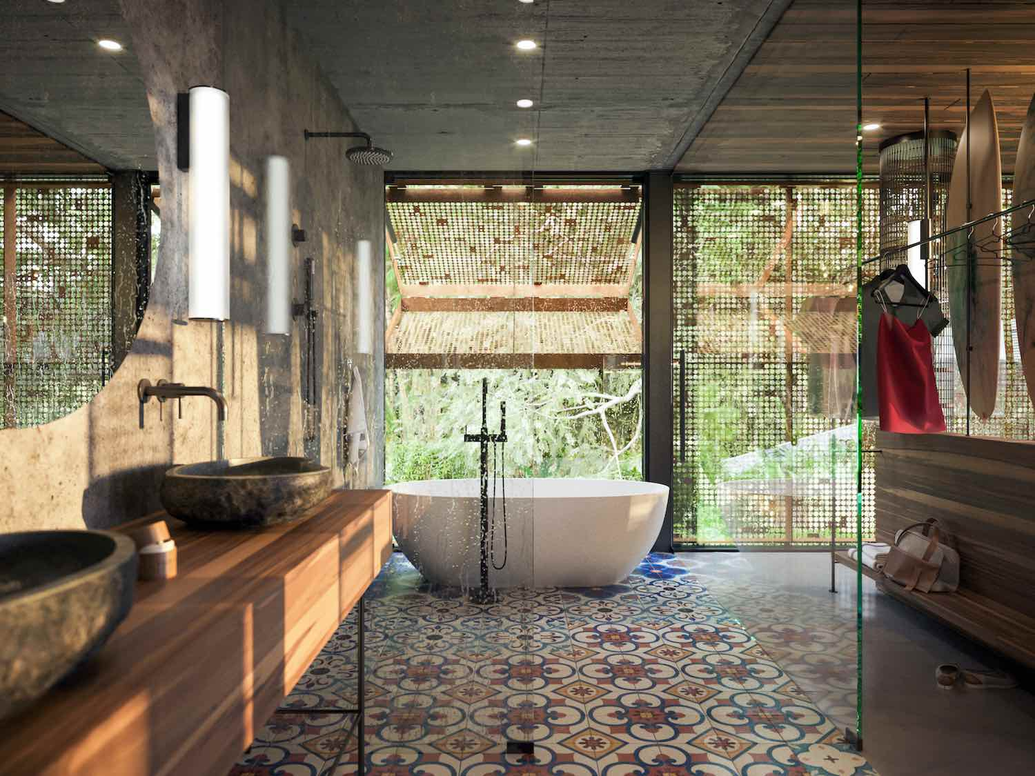 a bathroom with colored tiles