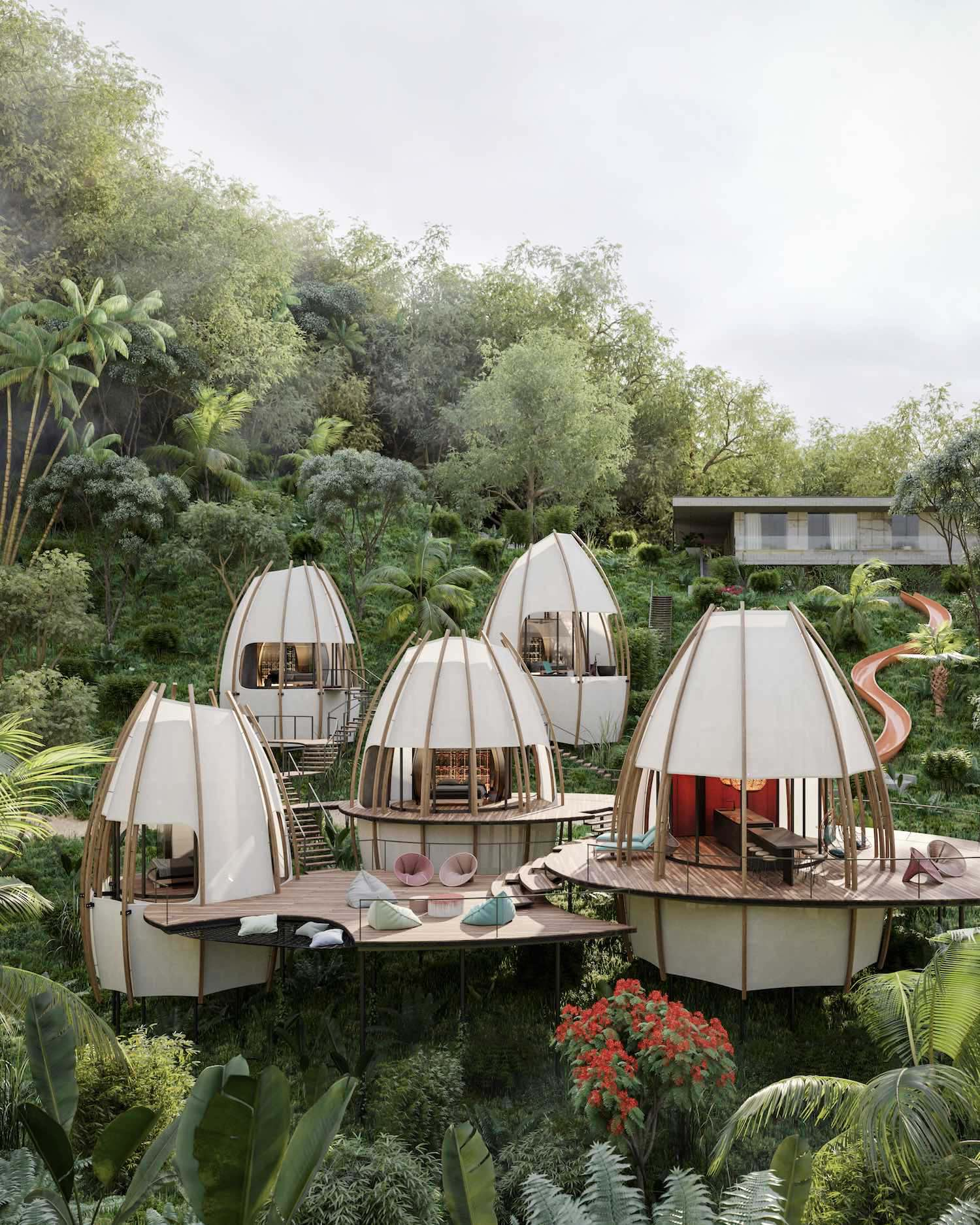 coco shaped villa resort made of wooden materials in the tropical forest