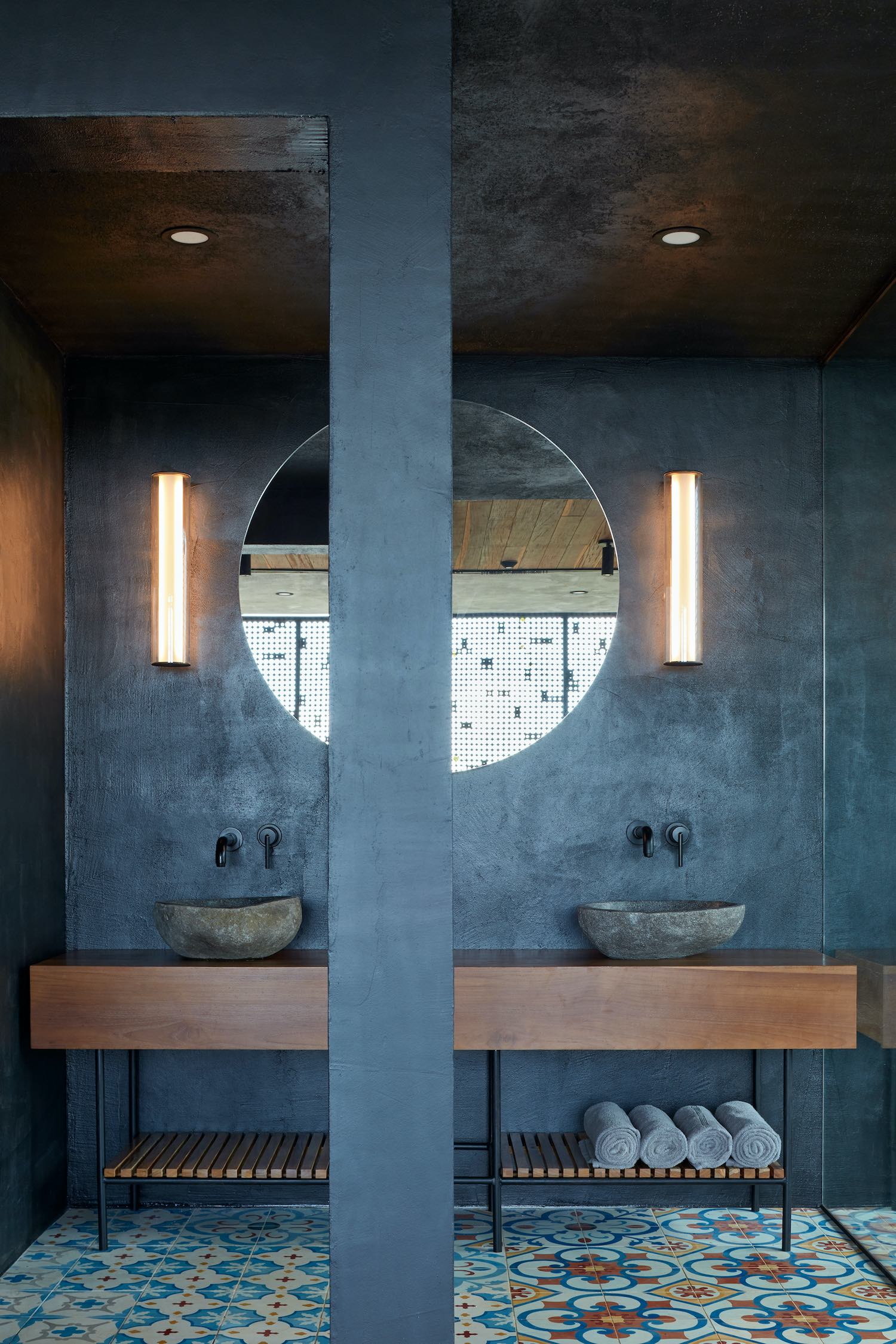 stone washing basin in bathroom