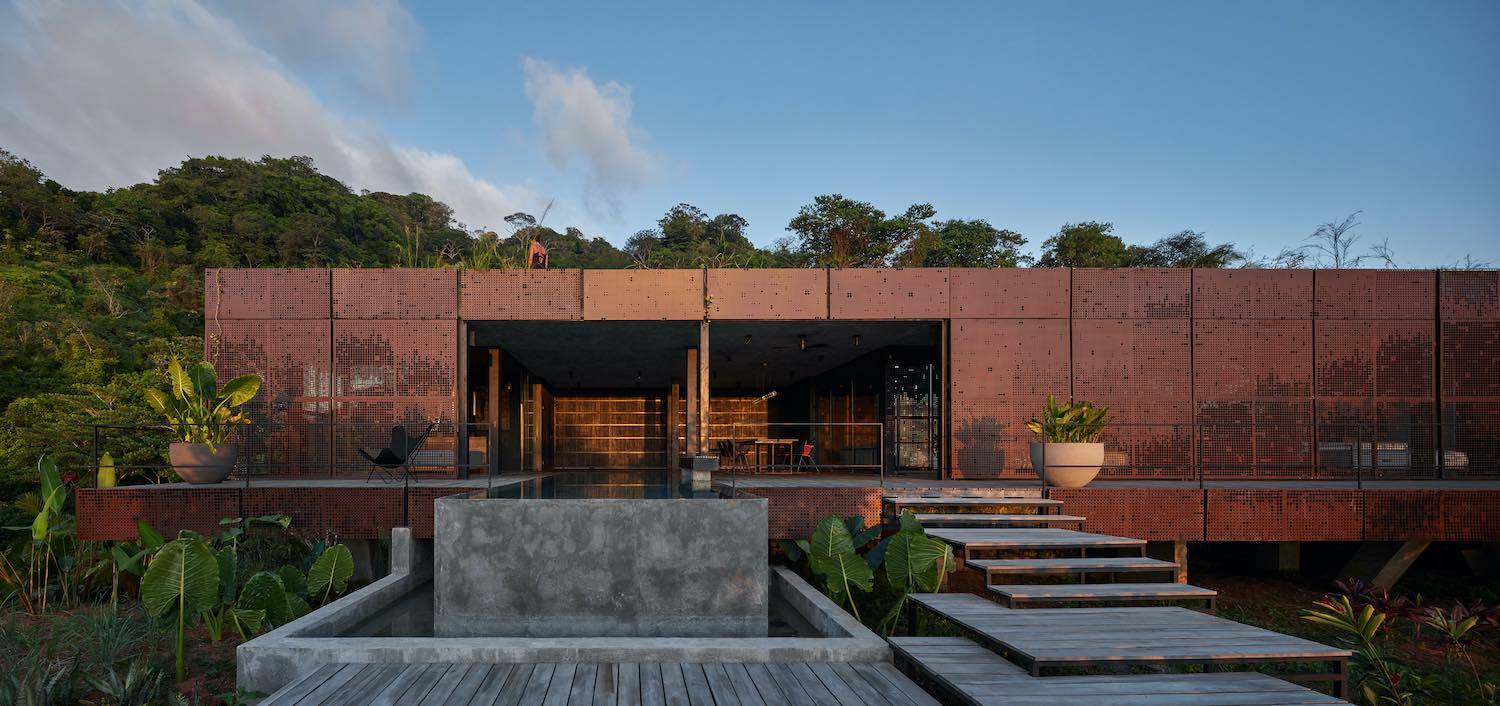 villa with screened walls in jungle
