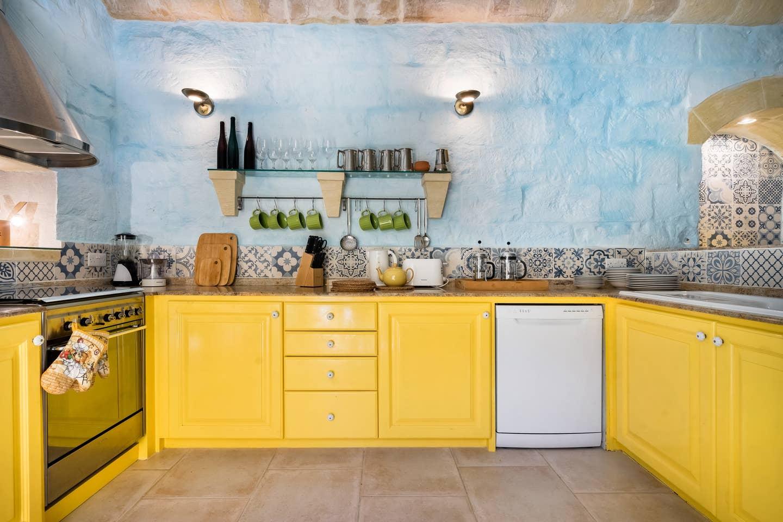 mediterranean kitchen design with colorful tiles