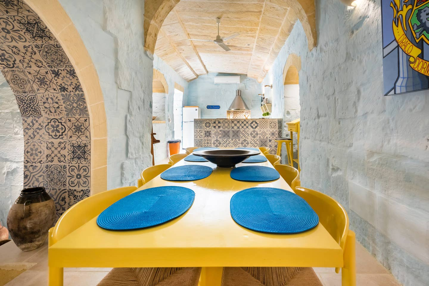 yellow dining table at kitchen