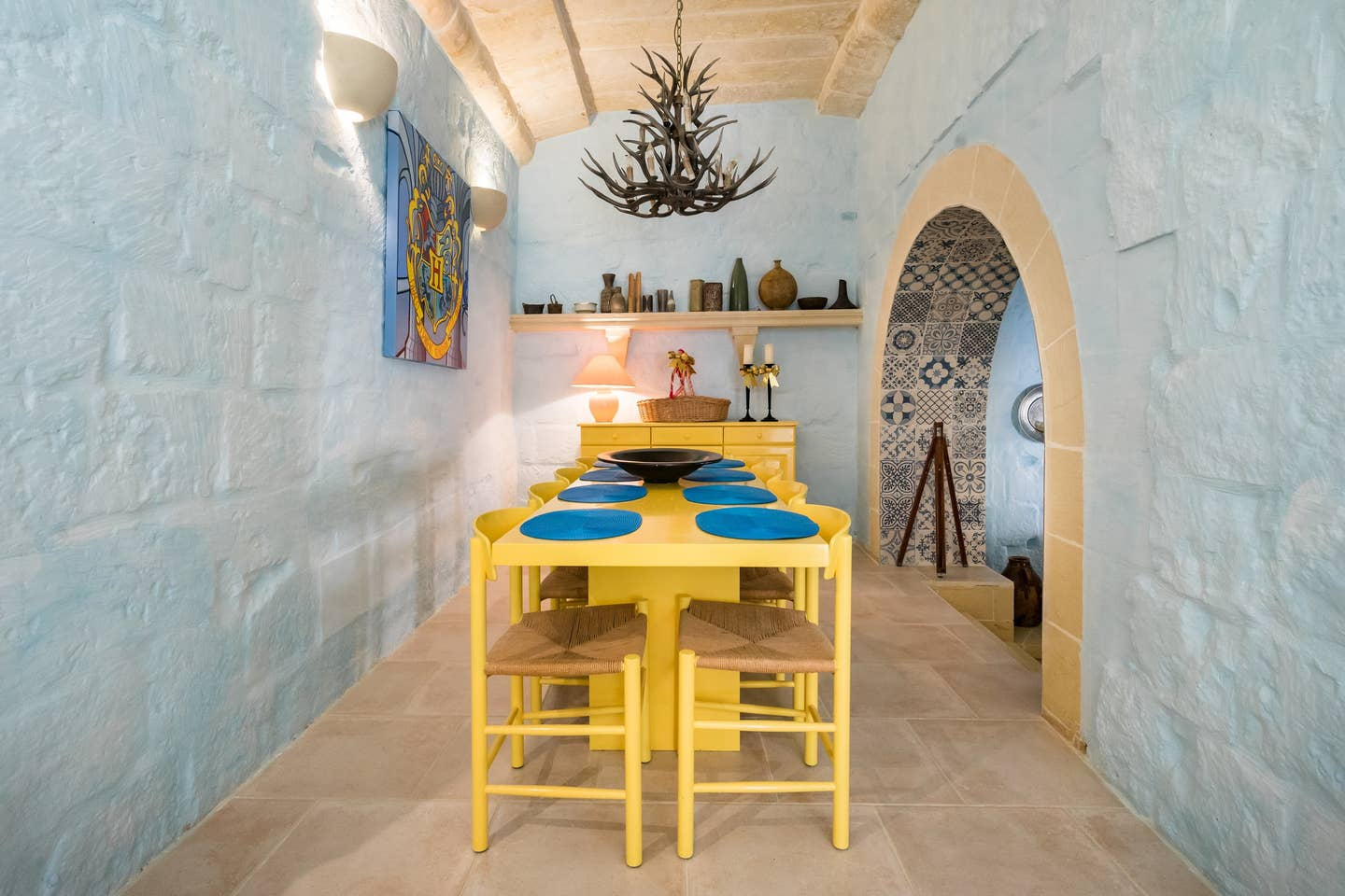 yellow dining table with chairs
