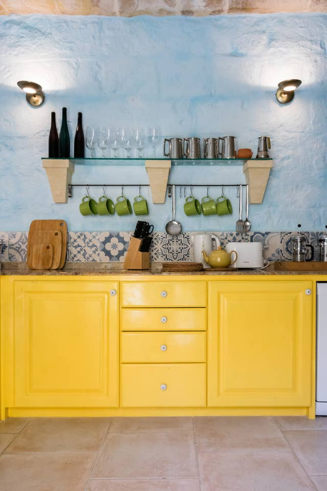 kitchen counter with yellow color