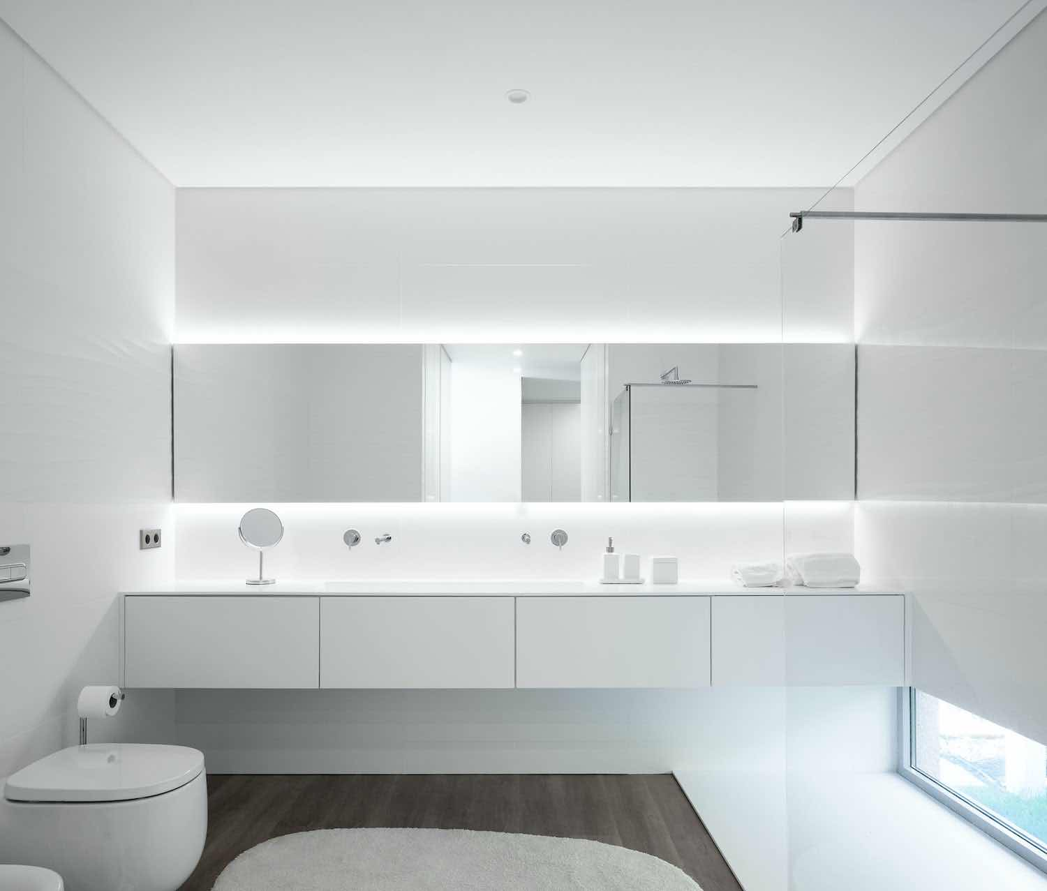 stylish bathroom with modern illumination