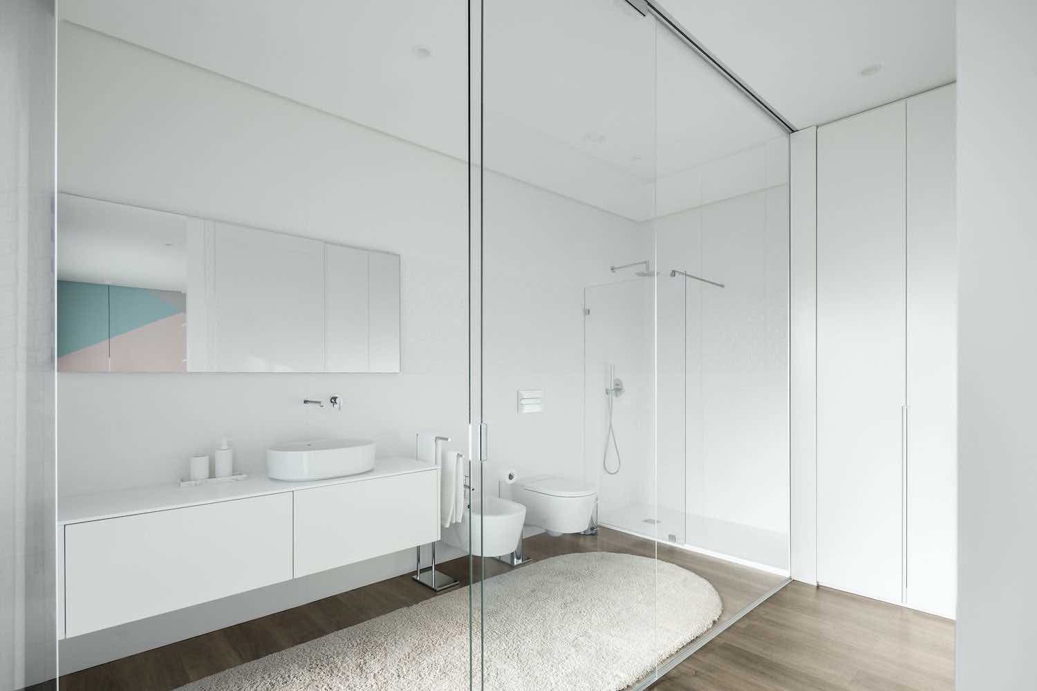 bathroom with glass door