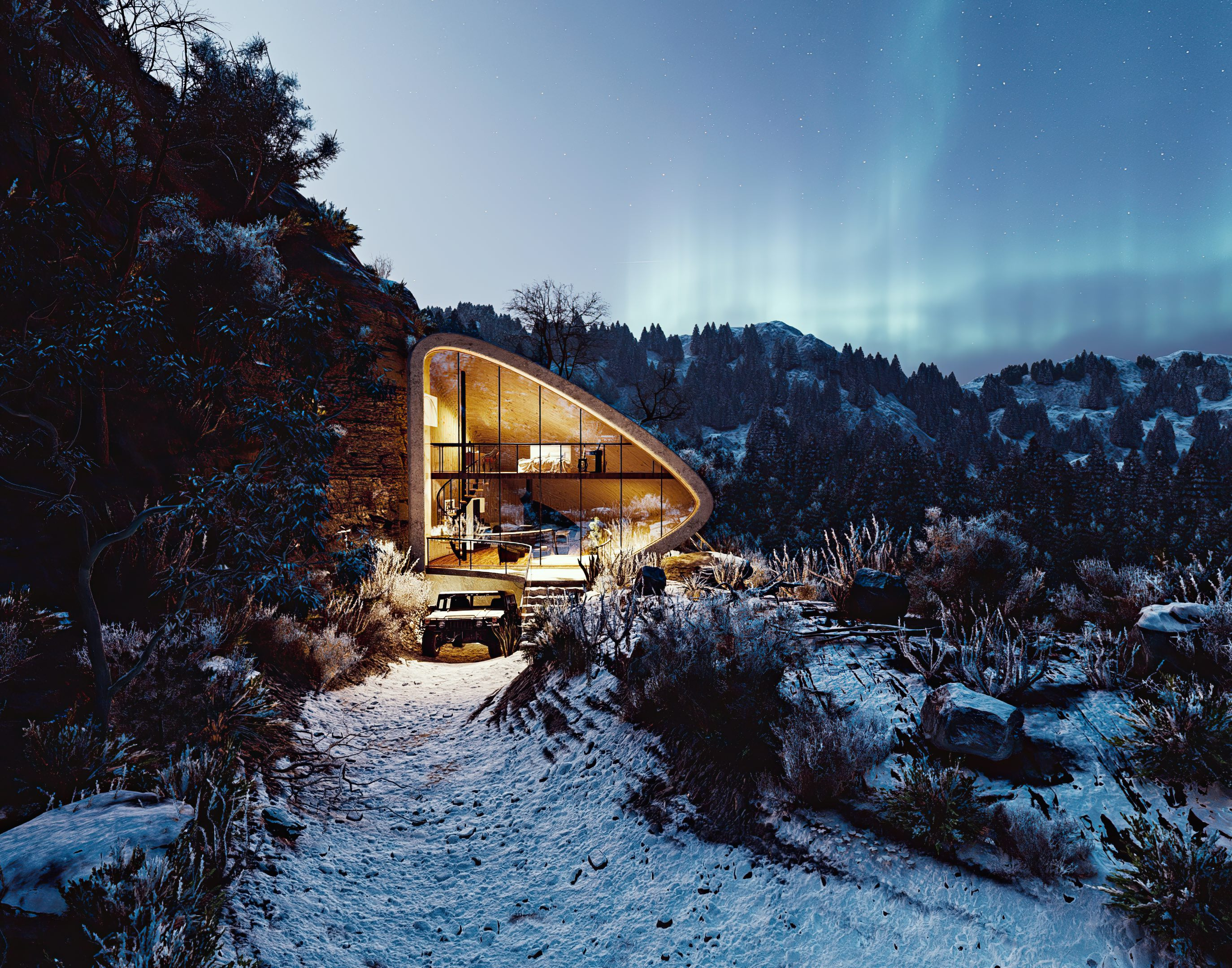 concrete house surrounded with snow at night