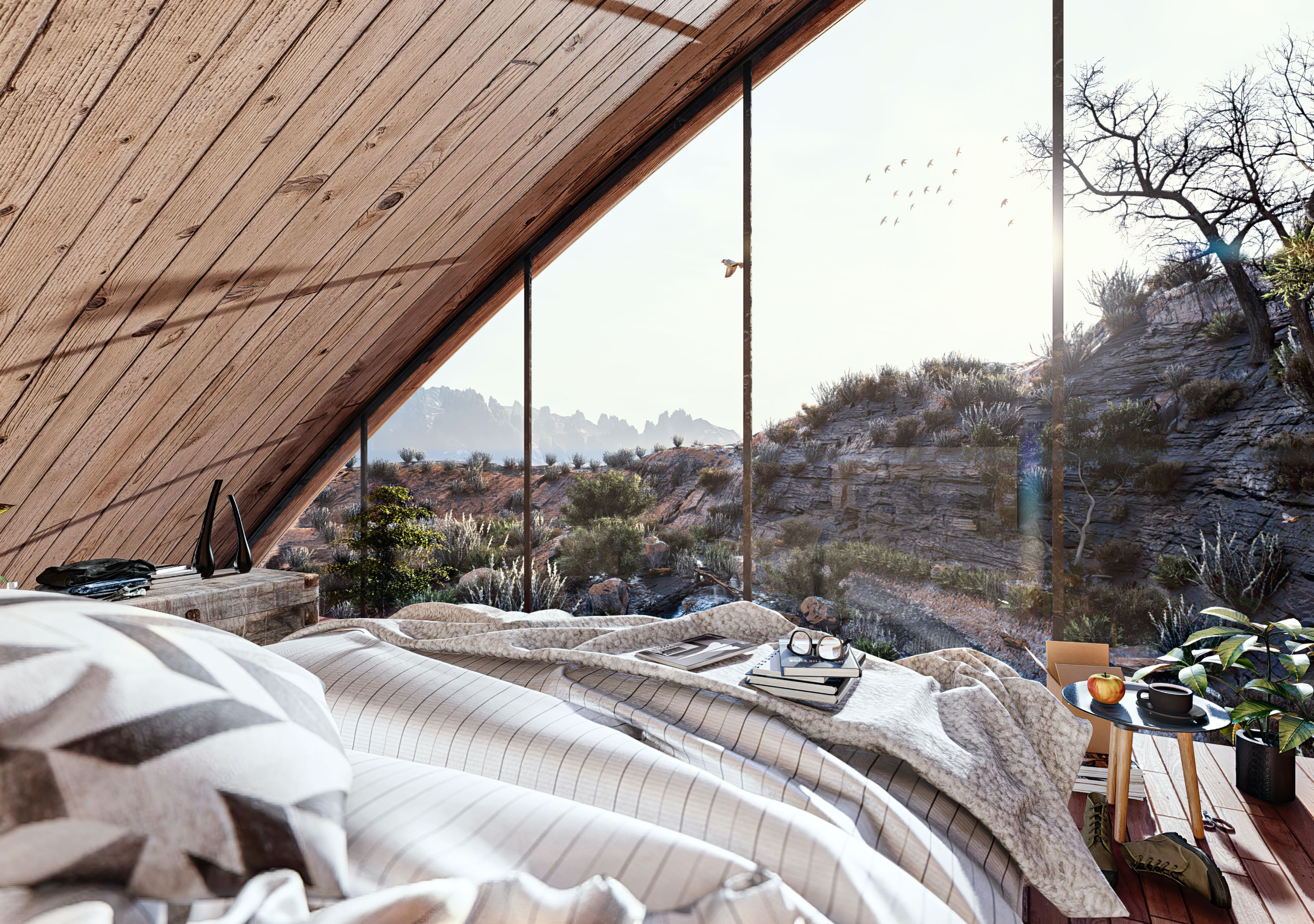 bedroom with Mountain View through window
