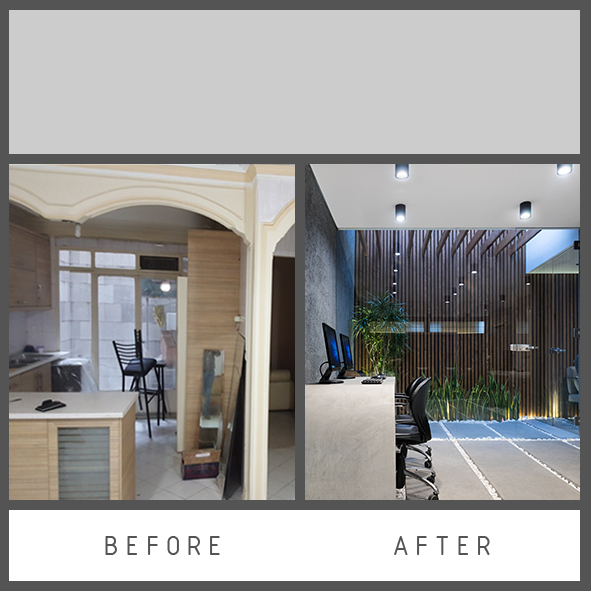 before and after of making office room
