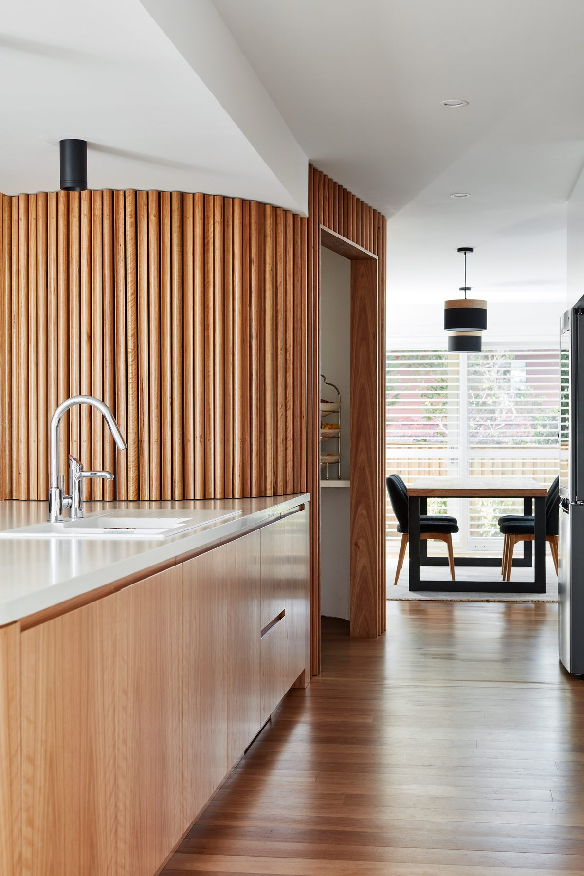 the wooden material of kitchen