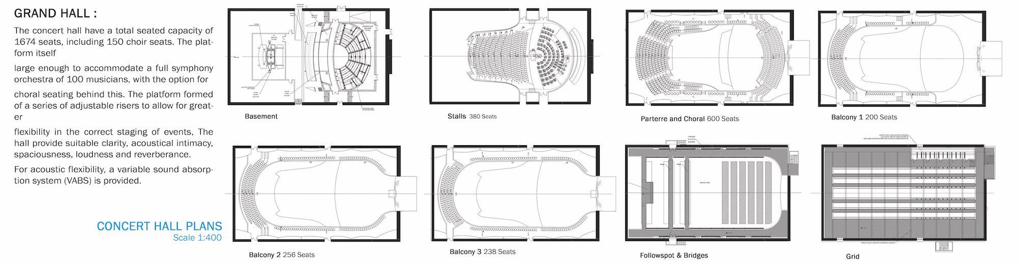 concert hall details in plan