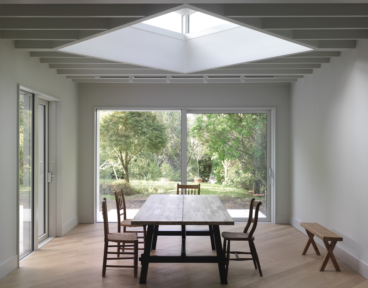a big skylight in the roof
