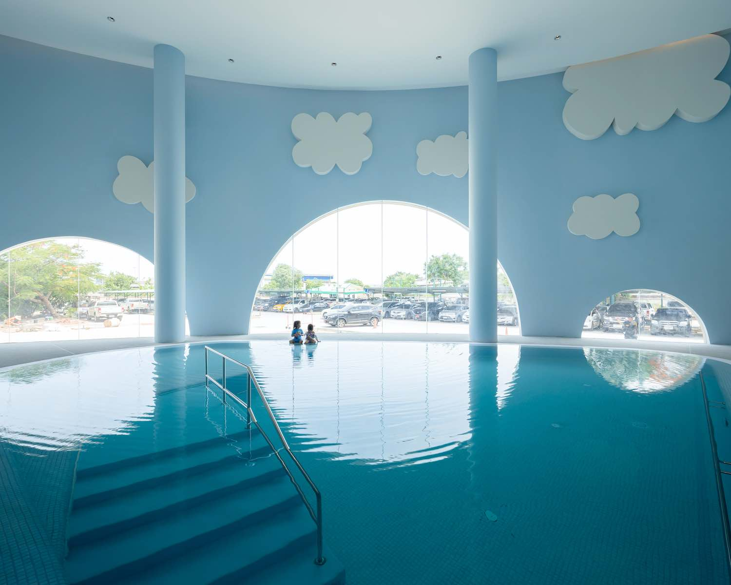 a swimming pool for the children inside hospital