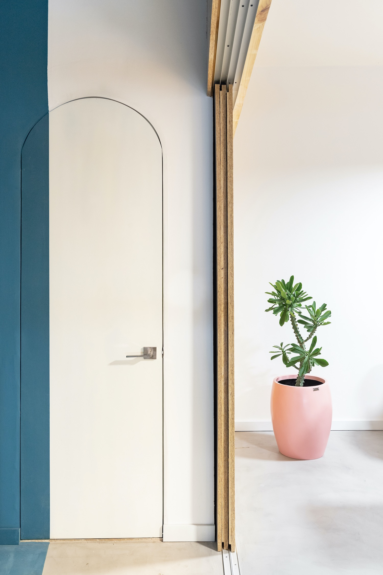 white door with arc