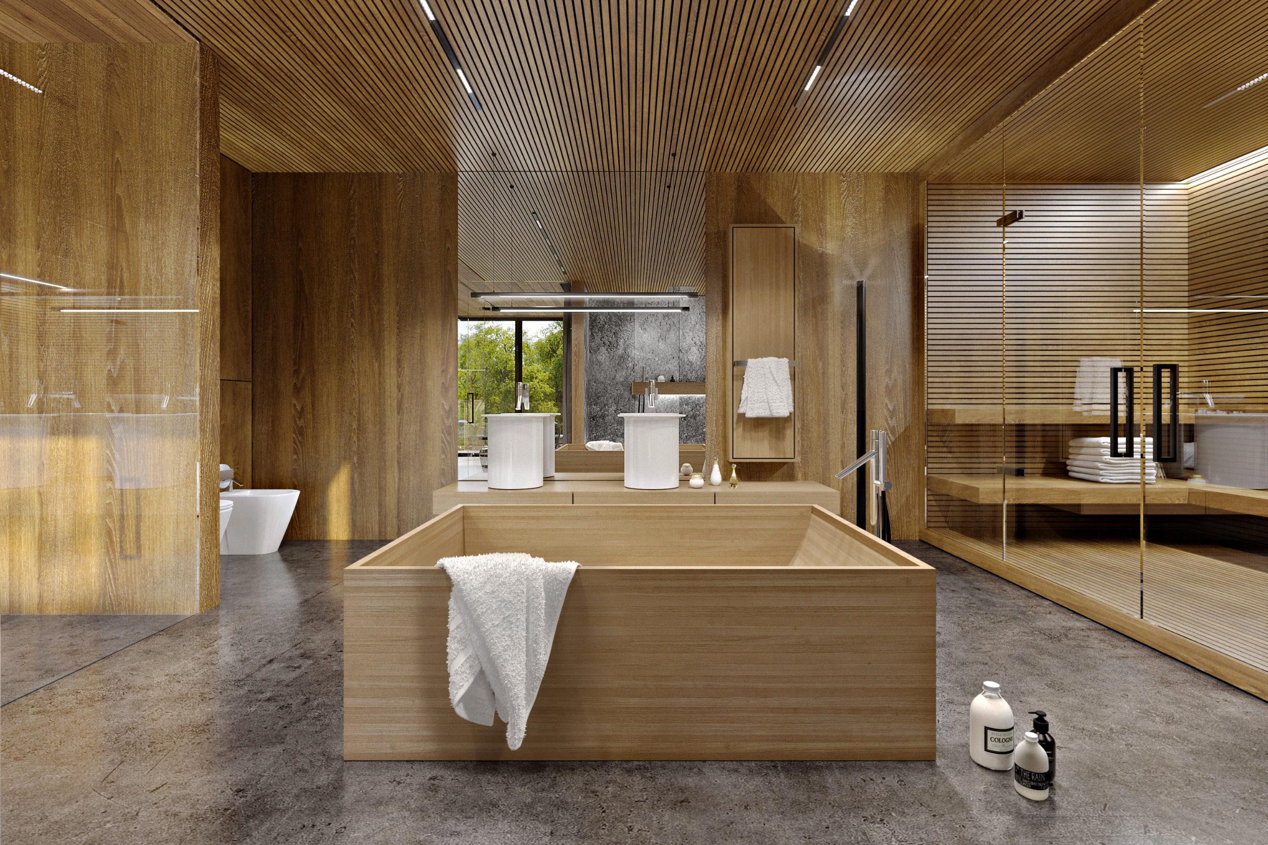 wooden bathtub in bathroom