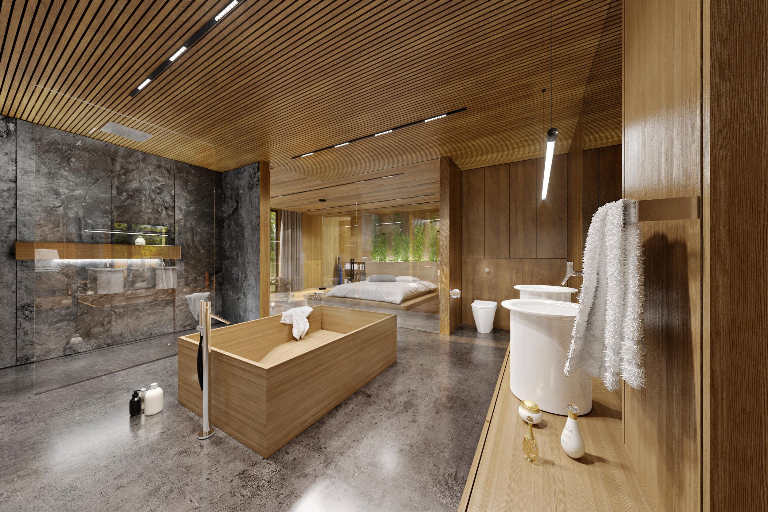 oak covered bathroom