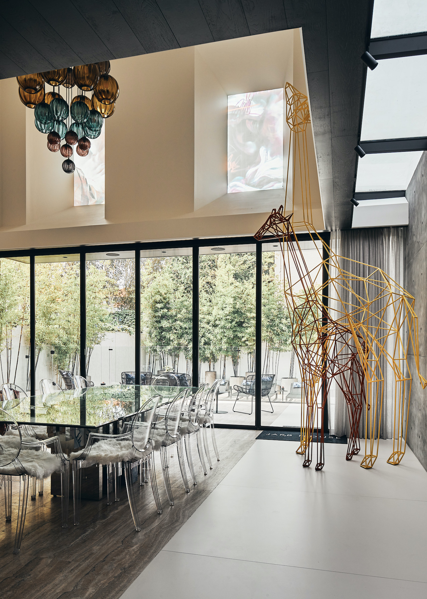 glass dining table with glass chairs