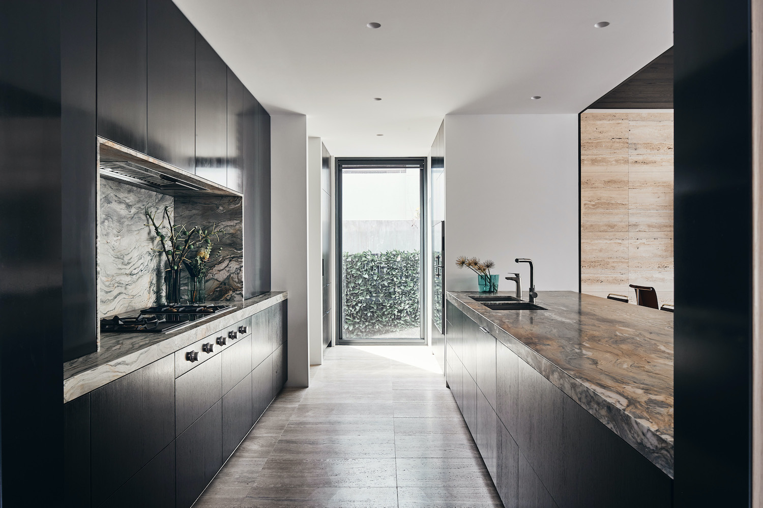 kitchen with a glass door